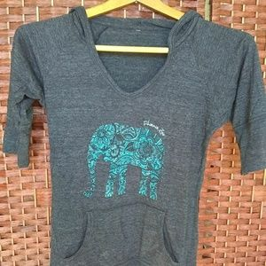 Other - Short Sleeve Elephant Hoodie with Front Pocket